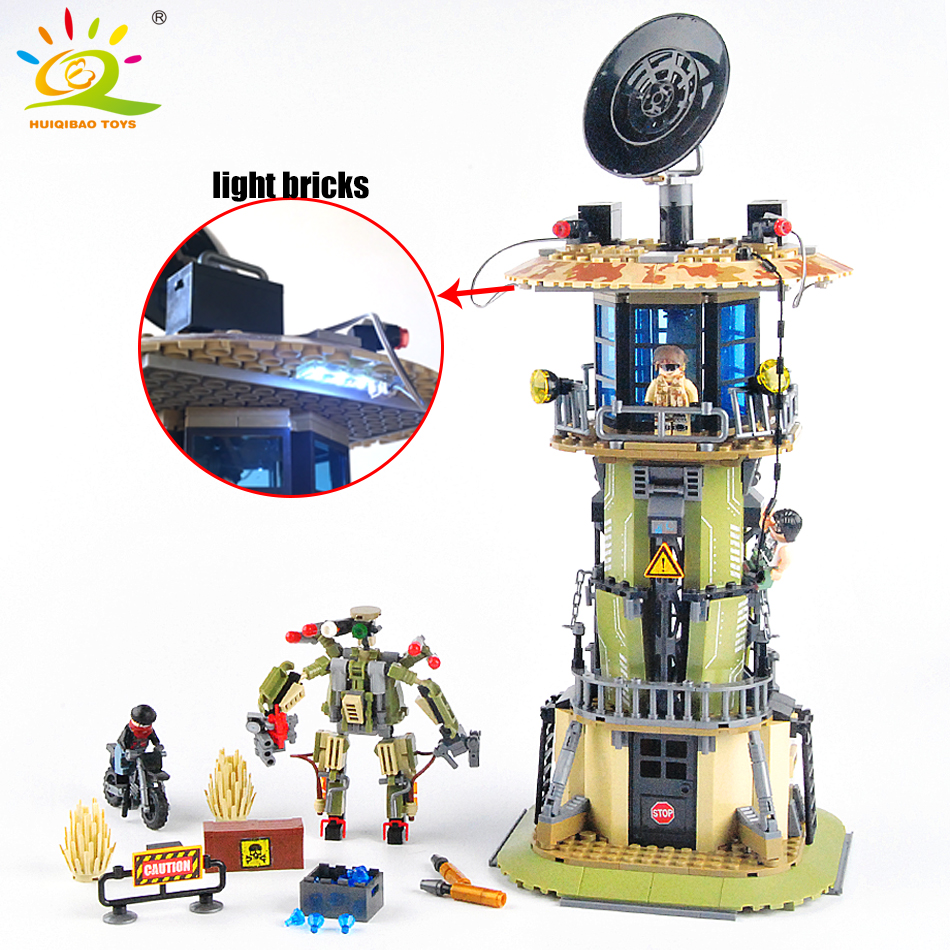 651pcs Military Radar tower Army Police Building blocks Compatible Legoed soldier figures weapon enlighten bricks Children toys<br>