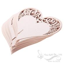 50 x Hot Place Cards Wedding Party Favor Wine Glasses Hollow Out Heart Lovely Iridescent Table Decor Name Cards Pink