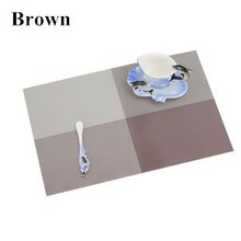 4 Pieces/Lot Brown Square Placemats Tableware Vinyl Dining Tables Place Mats Pads Dinnerware Restaurant Catering Accessories