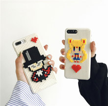 Cool Cute Cartoon Fashion Sailor Moon Building Block Bricks Handmade DIY Hard Back Cover For iPhone 6 s 7 PlusHot Phone Case