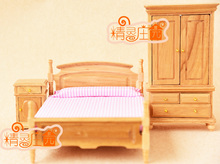 1:12 Scale Wood color Bedroom Wooden Furniture Miniature 3in1 Play house toys set Double Bed+Wardrobe+Side cabinet BJD Dolls(China)