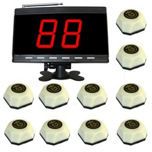 wireless waiter calling system.paging button for coffee shop. 10 bell and 1 display panel receiver(China)