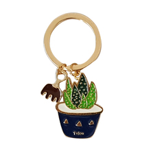 MOOSA Potted Flower Keychains Keyrings for Women Girls Car Accessory Fashion Birthday Party Gifts Metal Key Chains Rings Jewelry