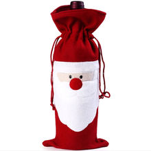 Red Wine Bottle Cover Bags Santa Claus Christmas Dinner Table Decoration Home Party Decors Supplier(China)