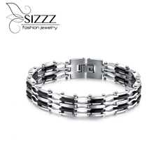 SIZZZ 21cm long 32g weight manufacturers direct supply of European and American bracelet stainless steel bold bracelet for men(China)