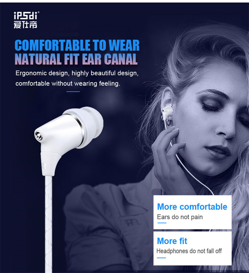 Ipsdi E09Upgraded version HiFi Stereo Bass Noise Reduction Music Sports With Microphone earphone for all phone computer mp3 play