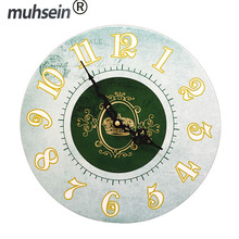 Best Deal New European Style Vintage Creative Round Wood Wall Clock Quartz Bracket Clock unique gift