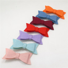 20pcs/lot Wool Felt Bow Hair Clip 9cm Dreamy Feltie Girl Barrette Girls Pigtail Hairpin Rainbow Color Great for All Size Grip(China)