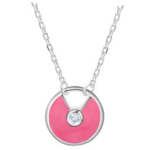 2016 Luxury 3 Colors  Silver Plated Round Pendant Necklace Fashion Statement Jewelry CZ Nice Necklace for Women concise