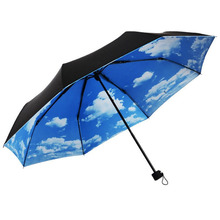 Blue sky umbrella rain women man 3 Folding UV Block Protection Umbrella Travel Compact Lightweight Umbrella
