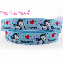 "5/8""16mm i love unicorns printed fold over elastic ribbon blue elastic band with red heart dots handmade hair bows 10 yards"
