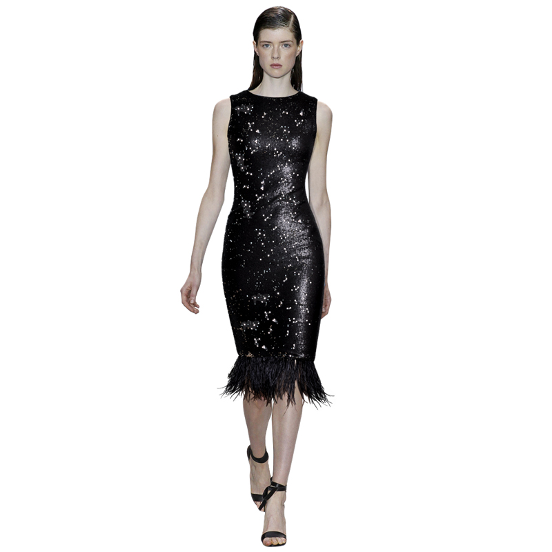 blackblue shining formal sequined dresses feather party fringe dress runway clothing o-neck sleeveless bodycon midi tight dress