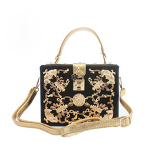 Luxury High Quality White Flowers Diamond Carved Hollow Lock Retro Fashion Design Mini Evening Bags Women Handbags Shoulder Bag(China)
