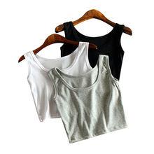 Mileegirl Summer Slim Render Short Top Women Sleeveless U Croptops Tank Tops Solid Black/White Crop Tops Vest Tube Top 7Color(China)