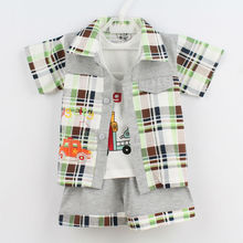 2017 3PCS/Set Newborn Baby Boy Clothing Set Cotton Fashion Summer Short Sleeved Boys Clothes Character Casual Coat+Vest+Pant(China)