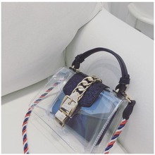 Features new European and American fashion lock bag handbag simple shoulder bag color rope transparent package(China)