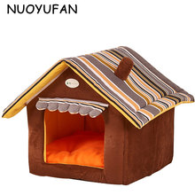 NUOYUFAN Striped Dog House Mat Small Medium Dog Beds Removable Cover Pet Products House Cat Pet Beds