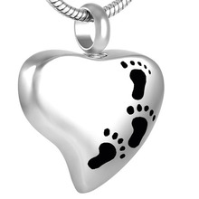 IJD8353 Footprint Heart Urn Ash Jewelry Stainless Steel Cremation Pendants for Human Ashes(China)