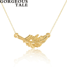 GORGEOUS TALE Feather Pendant Necklace Stainless Steel Women Necklace Designer Jewellery Brands Wedding Gift