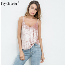Buy Women Camis velvet Halter Top Women Camisole 2018 Autumn Style Sexy Sleeveless Vest Slim PINK Crop Top