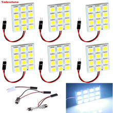6*White 240lums 5050 12-SMD LED Panel Dome Light Auto Car Interior Reading Plate Lamp Roof Ceiling Interior Bulb(T10 Festoon)