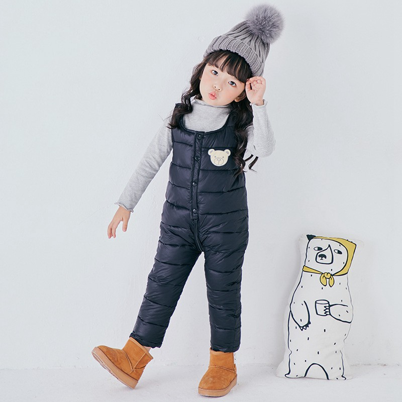 COOTELILI Cotton Winter Overalls Padded Outdoor Romper Pants High Quality Baby Girls Boys Jumpsuit Kids Clothes  90-110cm  (1)