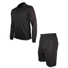 1 Set Men's Soccer Football Referee Jersey Long Sleeve Shirt+ Shorts Uniforms