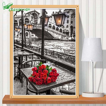 Hot Diamond Embroidery 5D Diy Crafts Romantic Paris Diamond Mosaic Diamond Painting,Roses,pictures of Diamonds Cross-stitch.b