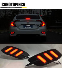 12V Led rear driving lights for Honda Civic 10th 2016 2017 Led Brake Lights rear bumper lamp warning light