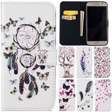 Cute Cartoon 3D Butterfly Net Flower Deer Leather Flip Fundas Case For Samsung Galaxy S5 S6 S6 Edge S7 S7 Edge S7 Plus Cover