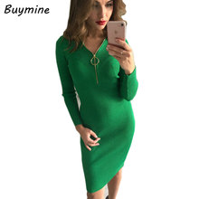 Red Hot Metal Ring Knitted Dress 2017 Long Sleeve Autumn Winter Dress Deep V Over Hip Skinny Knitted Bodycon Dresses Vestidos FR(China)