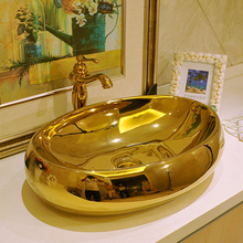 600mm Oval Gold Color Ceramic Washbowl Basin Personalized Counter Top Sink Art Washing Basin
