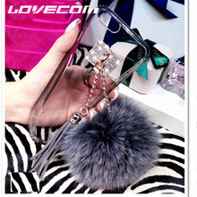 LOVECOM High Quality Luxury Fur Ball Tassel Charm Phone Cases Cover Transparent Soft TPU Coque Capa For iphone 6 6S 6Plus 6SPlus