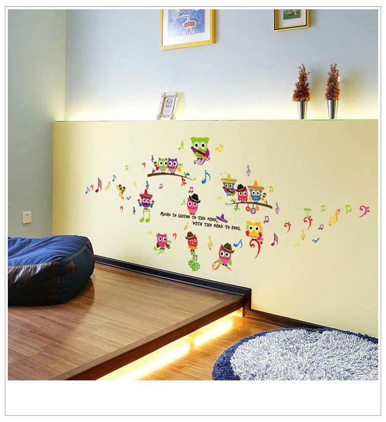 Cute Music Owl Wall Stickers For Kids Rooms Baby Bedroom Home Decor Art Background Wall Sticker Decals Muurstickers