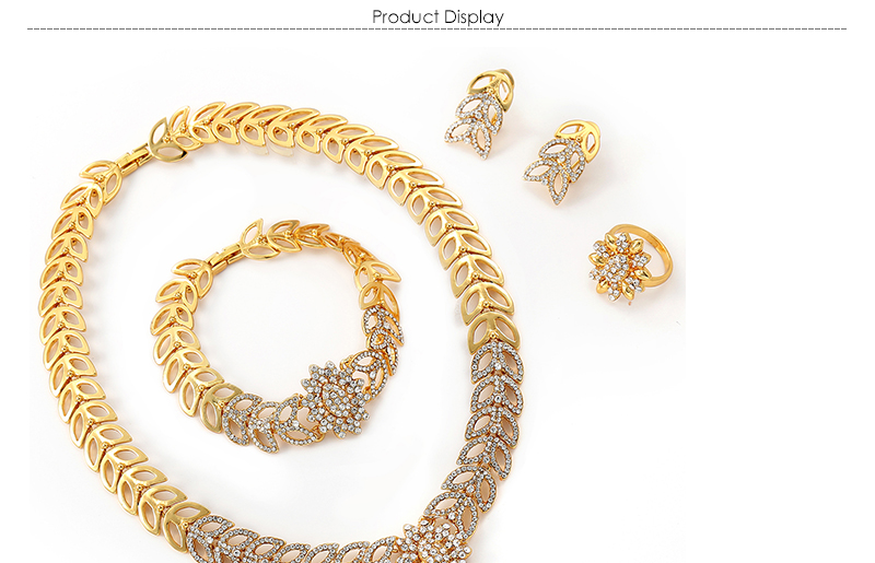 AYAYOO Bridal Women African Beads Jewelry Set Heart Pendant Party Fashion Jewelery Sets Imitation Crystal Costume Jewellery (1)