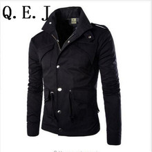 Q.E.J Free shipping 2017 winter British Style Trench Coat Men Zipper Men's Jackets Brand Outdoors Overcoat Black Mens Jacket
