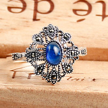 Vintage 925 sterling silver with synthetic sapphire blue jade rings jewelry for women