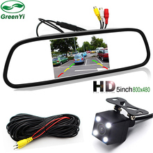 "GreenYi 5"" Color HD TFT LCD Car Rearview Mirror Monitor 800*480 With Auto Rear View Camera Parking Monitor System"