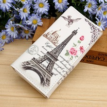 Paris Tower Pattern Women Wallets ID Cards Holder Lady Purses Handbags Coin Purse Long Clutch Moneybags Girls Wallet Burse Bags(China)