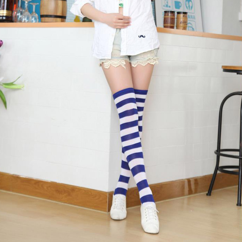 Polyester Fashion Stripe Beauty Tights, Stockings, Multicolor Knee-high Women Sweet Cute Girls Stockings 3