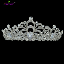 Royal Crown Tiaras Bridal Hair Accessories Pageant Flower Headband Genuine Austrian Crystals Drop Zircons SHA8700(China)