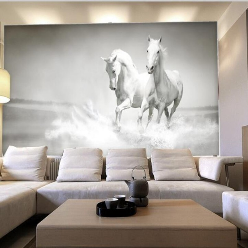 Custom photo wallpaper White Horse large murall wall paper sofa bedroom TV backdrop 3d mural wallpaper for wallpaper<br><br>Aliexpress