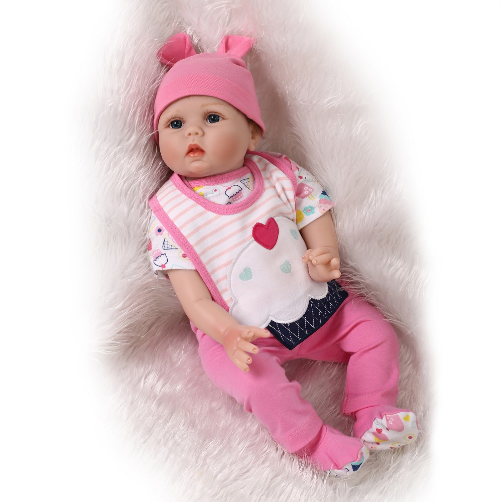 22 inch 55 cm hot sale solid silicone reborn dolls Beautiful pink set saliva towel doll(China)