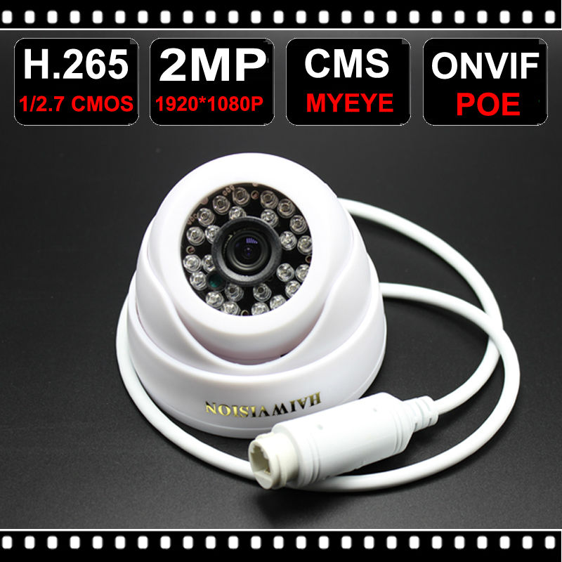 New D624WB Full HD 2MP 1920*1080P CCTV Camera POE IPC ONVIF Support Indoor IR Dome Camera H.265 for Camera Security<br><br>Aliexpress