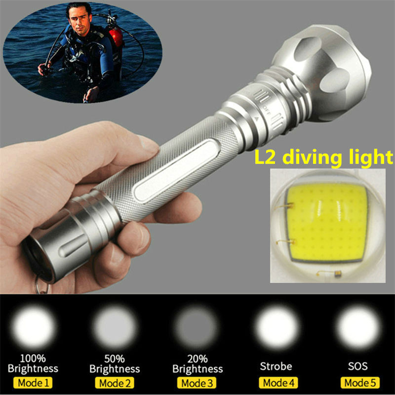 New Diving lights XM-L L2 LED 3800Lm Diving Flashlight torch Waterproof Torch Diver light For 2x 18650 battery(China (Mainland))