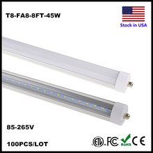 LED 8feet 8ft FA8 Tube Single Pin 45W LED Tubes Light Repalcement LED Fluorescent Tube Lamp 2400MM SMD2835 AC85-265V Stock In US(China)