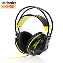 SteelSeries Siberia v2 200 Black with yellow Noise Isolating Gaming headphones Stereo Super bass Hifi Headsets for gamers