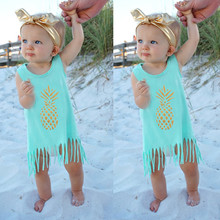 Toddler Baby Girls Dress Up Cotton Golden Pineapple Sleeveless Beach Style Tassel Ball Gown Summer Dresses Sarafan