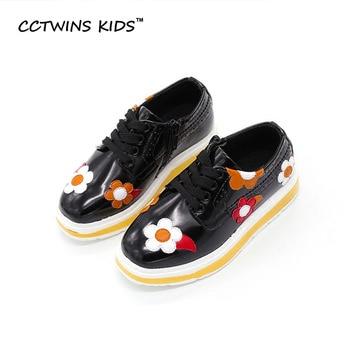 CCTWINS NIÑOS 2017 Otoño Del Resorte Del Bebé Niña de las Flores de Zapatos Del Niño Cuero de la pu de Encaje Hasta la Plataforma Del Cabrito Niños Negros Zapatos De Moda G1072