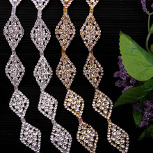 Free Shipping 5 yards Crystal Rhinestone Trim, Rhinestone Applique, Wedding Applique,Rhinestone Chain MALI063